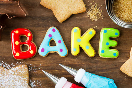 Cookies forming the word bake Stock Photo
