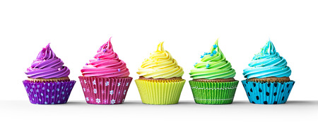 a line: Row of colorful cupcakes isolated on a white background