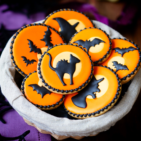 basket: Basket of Halloween cookies Stock Photo