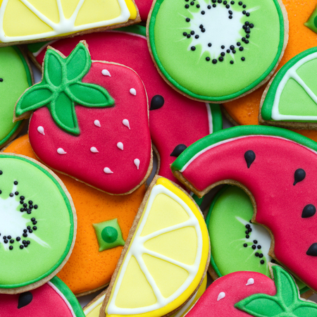decorated: Colorful fruit cookies Stock Photo