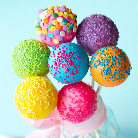 Colorful cake pops tied with a ribbon Stock Photo