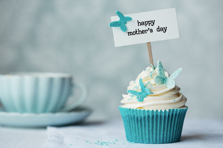 Mothers day cupcake with copy space to side