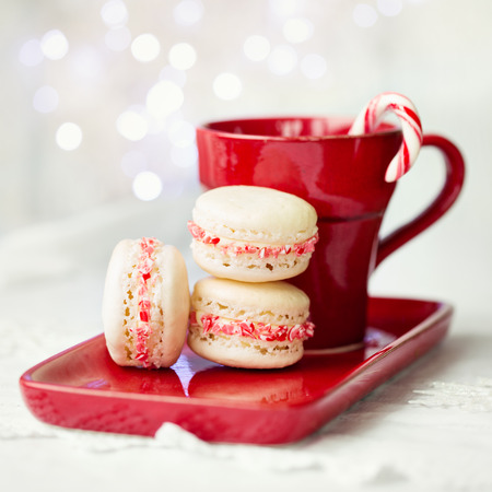 red food: Macarons decorated with crushed candy canes