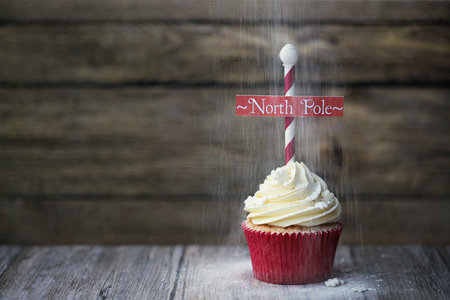 north pole: Cupcake with North Pole sign