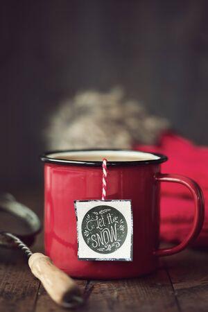 enamel: Enamel mug with festive tea bag tag
