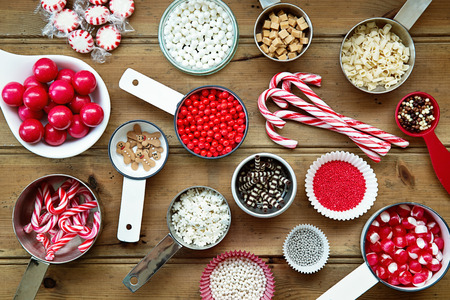 sprinkles: Christmas cupcake decorations and sprinkles Stock Photo