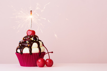 Ice cream sundae cupcake with sparkler