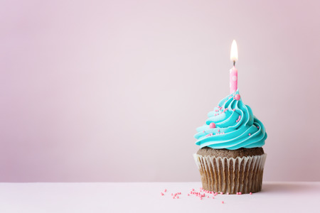 Birthday cupcake with a single candle