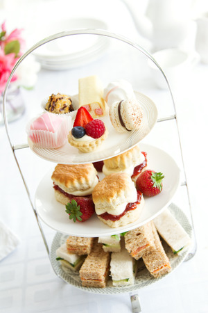 cakestand: Afternoon tea served on a tiered cake stand