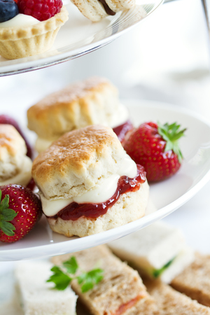 cream tea: Afternoon tea served on a tiered cake stand