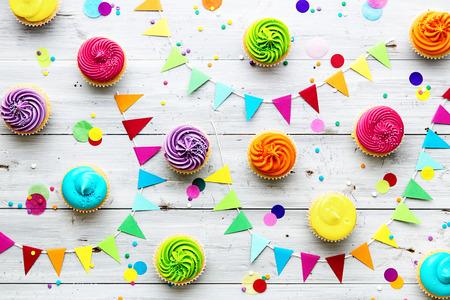 カップケーキ パーティー バック グラウンド 写真素材