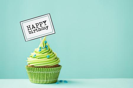 Cupcake met gelukkige verjaardagsteken