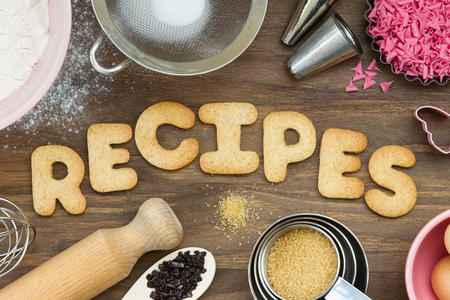 Cookies forming the word recipes Stock Photo