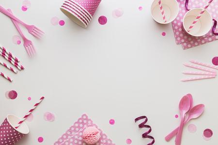 コピー スペースとピンクのパーティの背景 写真素材