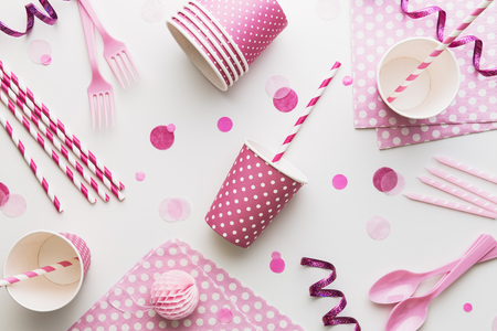 Pink party background overhead view Standard-Bild