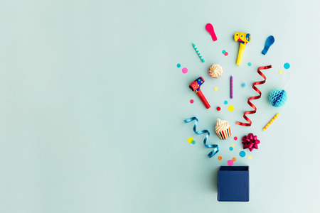 Objects for a birthday party Stock Photo