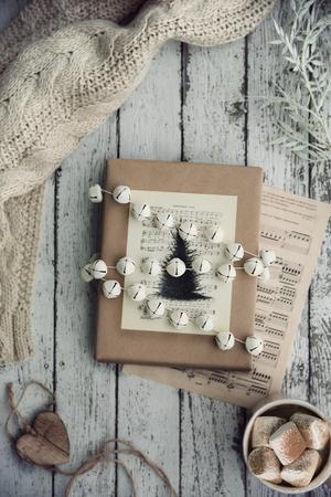 Hot chocolate and vintage Christmas wrap