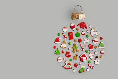 Draufsicht dekorierte Weihnachtsplätzchen