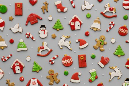 Decorated Christmas cookie background pattern