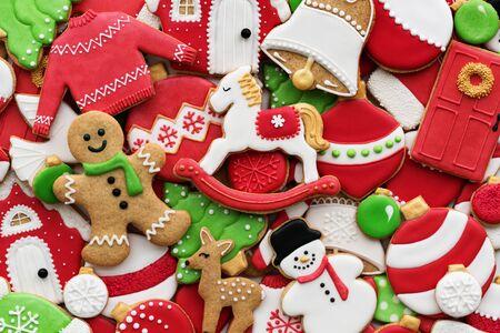 Assortment of decorated Christmas cookies Banco de Imagens