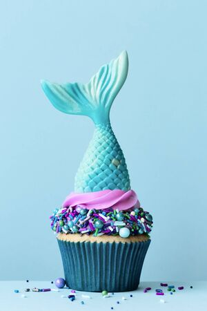Mermaid tail cupcake with colorful sprinkles