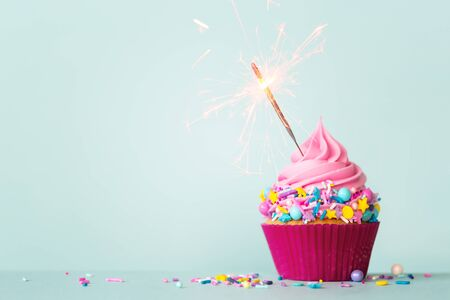 Birthday cupcake with sparkler and colorful sprinkles