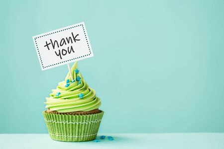 Cupcake with thank you sign