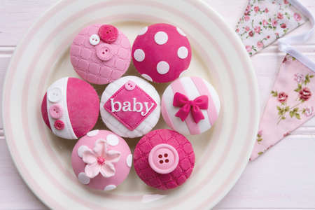 Pink baby shower cupcakes for a little girl Zdjęcie Seryjne