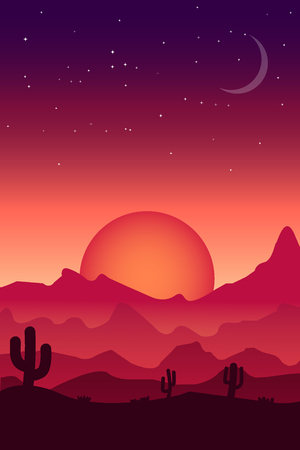 Desert landscape in reddish and purple tones, for decoration.