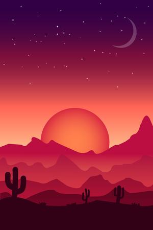 Desert landscape in reddish and purple tones, for decoration.