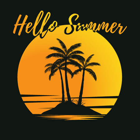 Tropical palm trees island silhouettes with sunset in yellow, orange and black colors. With the text Hello Summer written in manuscript font. Ready to use in decoration, social media, posters, flyers.