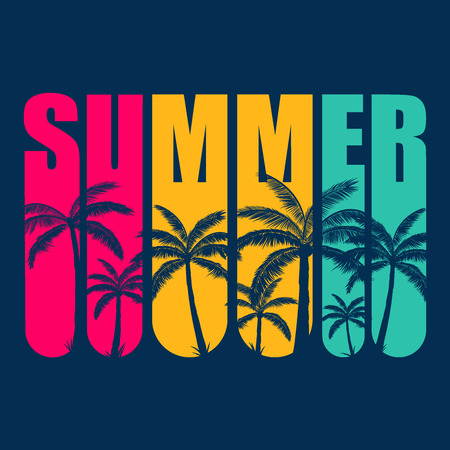 Summer logo with blue palms trees in pink, yellow, green letters, with blue background. Ready to use in social media, decorations, posters, flyers and banners.