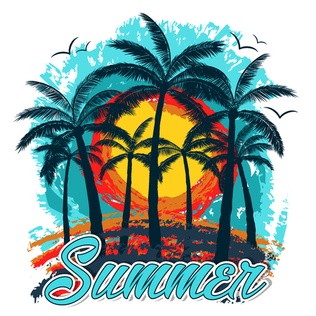 Summer   background with palm trees and gulls in blue, orange and yellow colors. With summer text written in manuscript font. Ready to use in decorations, social media, banners and poster. Illustration