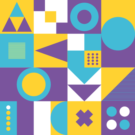 Geometric minimalist artwork with simple shape in yellow, purple, blue and white colors. Abstract vector pattern design for web banner, social media, branding package, fabric print, wallpaper.