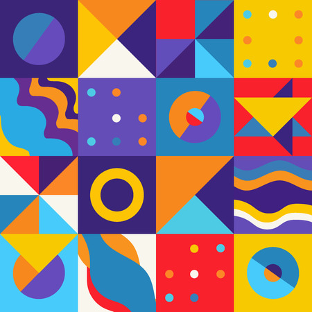 Geometric minimalist artwork pattern with simple shape in yellow, orange, red, blue and purple colors. Ready to use in banners, social media posts, branding package, fabric, wallpaper and flyer. Stock Illustratie