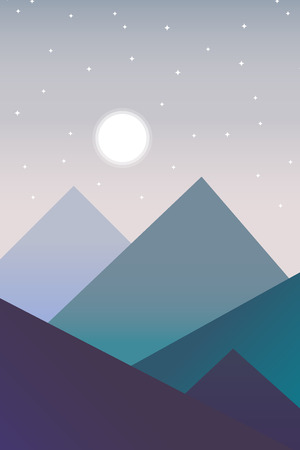 Vector landscape in a minimalist style at night. Decoration illustration.
