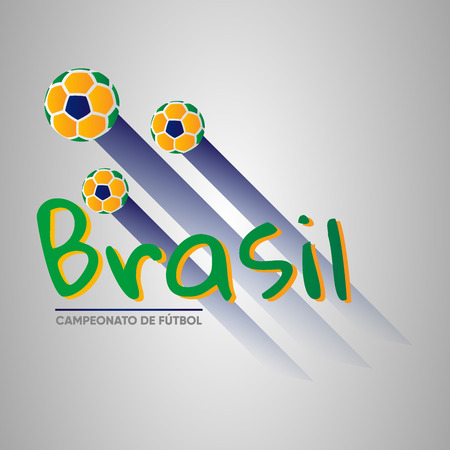 Brazil Soccer Championship logo with soccer balls in spanish. Ready to use in presentations, social media, banners, posters and flyers. Copa America 2019.