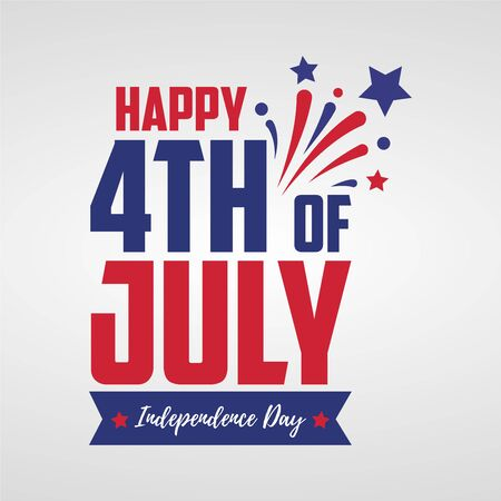 Happy 4th July. With United States flag colors, symbols, and fireworks. Independence day. Ready to use in flyers, posters, social media and decorations. Illustration