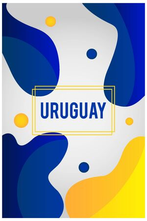 Liquid shape background with the colors of the Uruguay flag. Soccer championship. Ready to use in web banners, social media, presentation, flyers, posters and wallpapers.