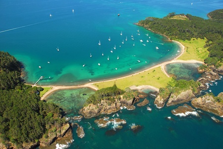 marina bay: Roberton Island - Bay of Islands, New Zealand - Aerial