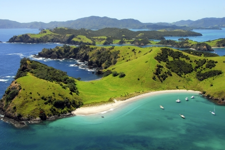 Waewaetorea Island - Aerial, 베이 오브 아일랜드, 노스 랜드, 뉴질랜드 스톡 콘텐츠