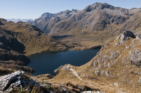 View from Conical hill over Lake Harris -Routeburn Track, South Island, New Zealand Banco de Imagens