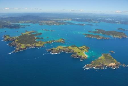 Aerial shot, Bay of Islands, Northland, New Zealand Banco de Imagens
