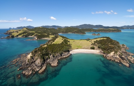 Aerial View over Urupukapuka Island, Bay of Islands, New Zealand Stock Photo