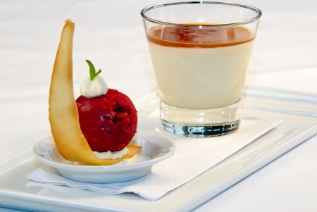 Mousse with sorbet served on a white dish