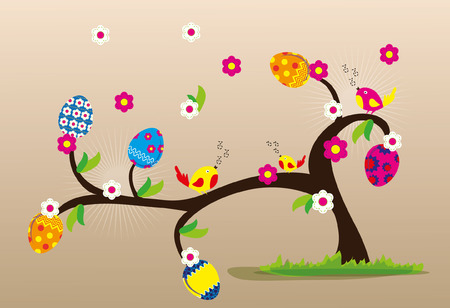 Easter tree with flowers and colored eggs