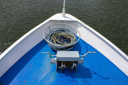 Front of a boat with the lifting mechanism of the anchor Stok Fotoğraf