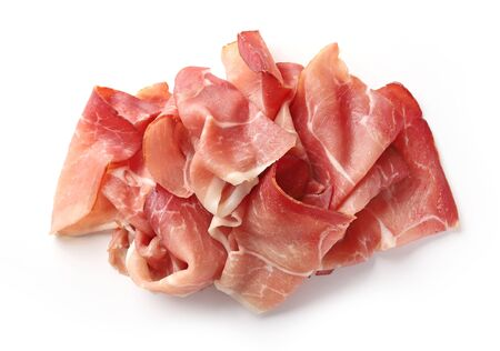 prosciutto isolated on white background, top view Stock Photo