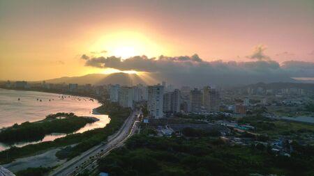 Sunset on beach and El Morro lagoon, Isla Margarita, Venezuela