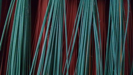 Green and pink plastic fibers